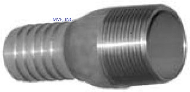 "Hose Barb Combination KC Nipple 2"" Male NPT for 2"" ID Straight End Hose 304 Stainless Steel"