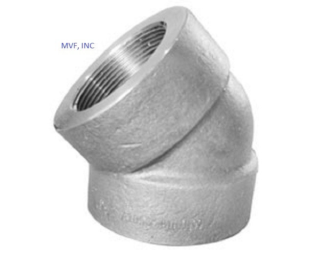 "NEW SURPLUS  1"" 3000 Threaded (NPT) 45° Elbow Forged Steel A105"