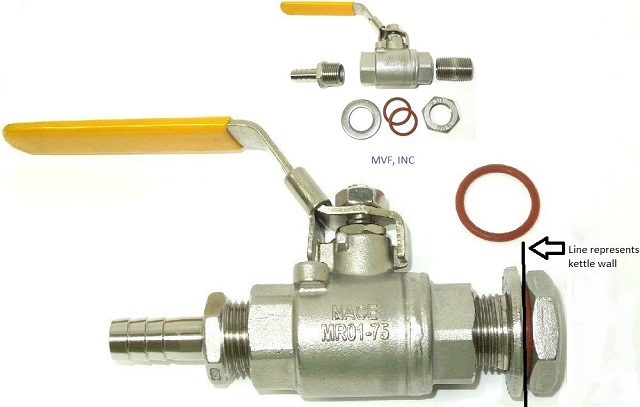 "Weldless Ball Valve Assembly, 1/2"" NPT Full Port, Hose Barb, Lock Nut, Flat Washer, O-Rings, All Stainless Steel"