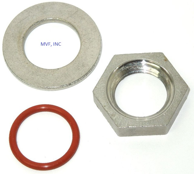 "Weldless Thermometer Install Kit for 1/2"" NPT, Lock Nut, Flat Washer, O-Ring FREE SHIPPING"